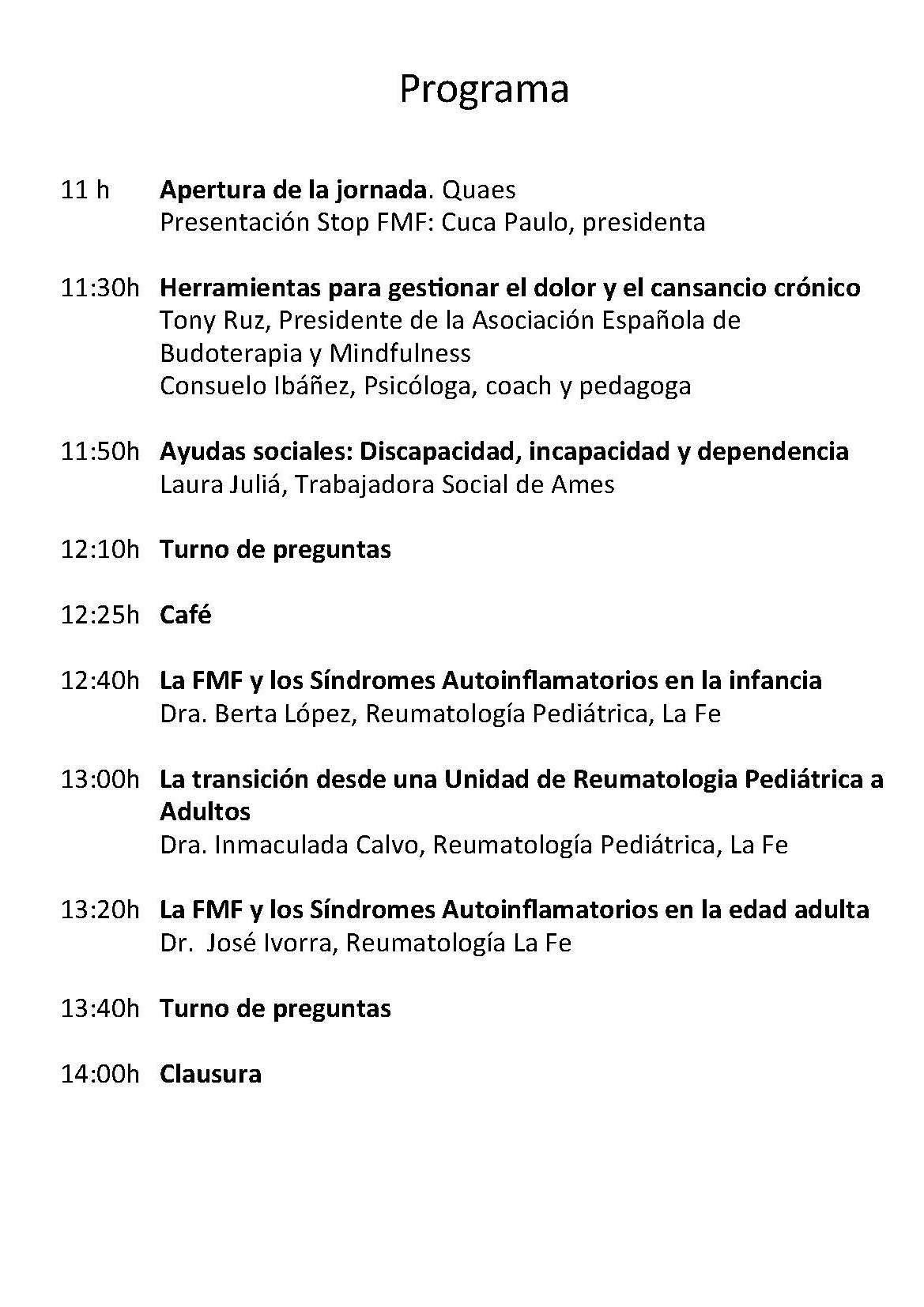 Programa I Jornada FMF