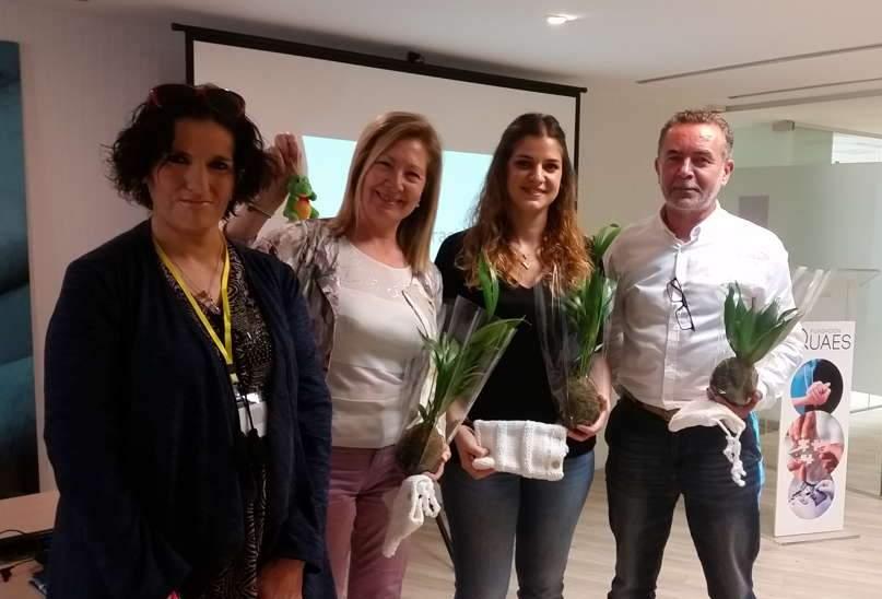 Los ponentes Consuelo Ibáñez,  Laura Juliá, Antonio Ruz con Natalia Camacho de Stop FMF