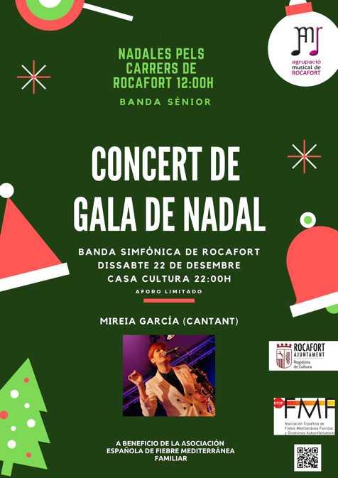 Cartel concierto navidad en Rocafort a beneficio de Stop FMF